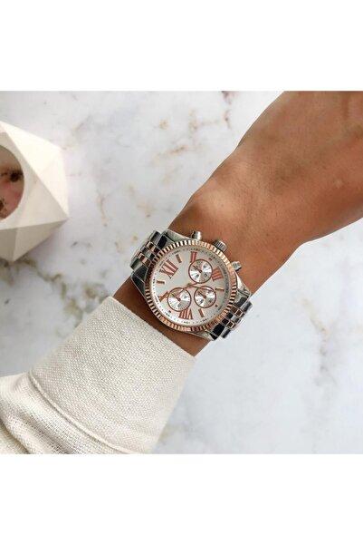 OQQO Roma Rakam Kasa Detaylı Rose Gümüş Kadın Kol Saati