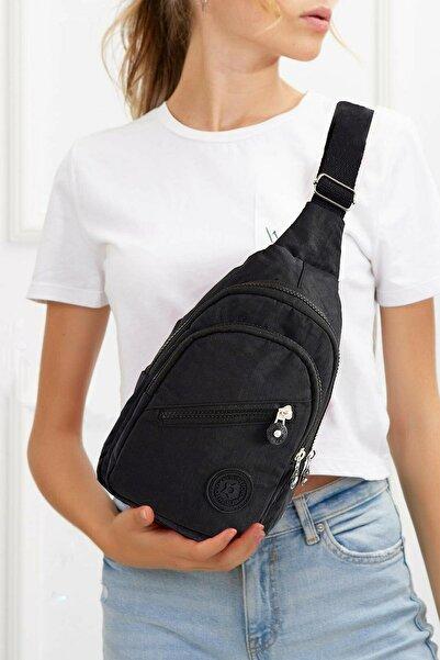 Av A Dos Unisex Siyah Su Geçirmez Krinkıl Çapraz Askılı Bel Omuz Çanta Göğüs Seyahet Günlük Bodybag