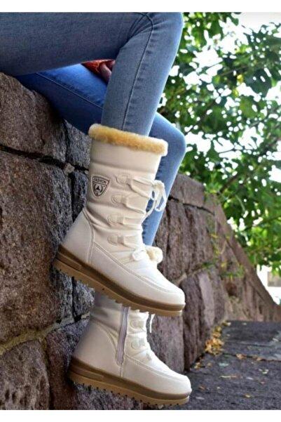 TUGGON Çocuk Beyaz Termal Kürklü Fermuarlı Kışlık Kar Botu Ayakkabı
