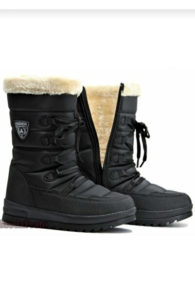 TUGGON Çocuk Siyah Termal Kürklü Kışlık Kar Botu Ayakkabı