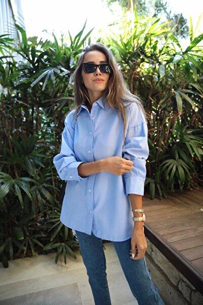 Flow Mavi Sırt Desenli Gömlek
