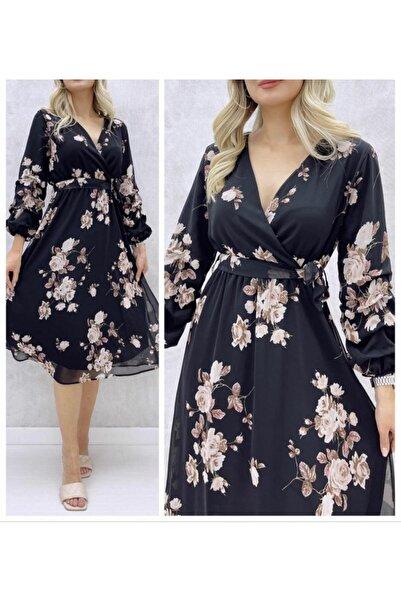 JANES Şifon Kumaş Astarlı Çiçek Desenli Elbise