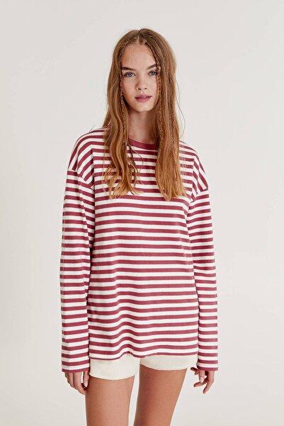 Pull & Bear Uzun Kollu Çizgili T-Shirt