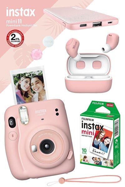 Fujifilm Instax Mini 11 Pembe Fotoğraf Makinesi - 10'lu Film Powerbank Ve Pembe Bluetooth Kulaklık Hediyeli