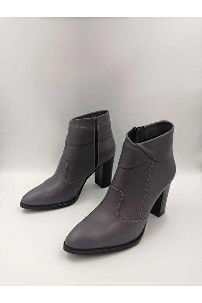 Tarz Topuklar Kadın Fermuarlı Içi & Dışı Hakiki Deri Topuklu Bot Ayakkabı
