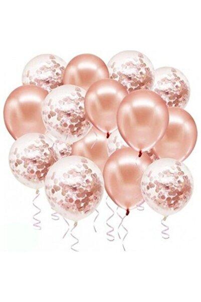 Deniz Party Store Rose Gold Konfetili Şeffaf Metalik Balon 20 Adet