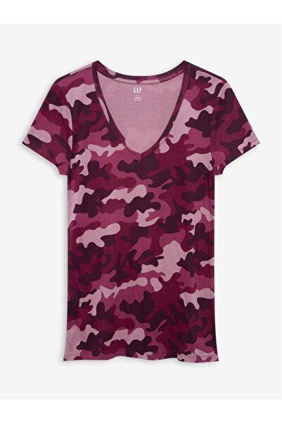 GAP Kadın Pembe Favorite V Yaka T-shirt