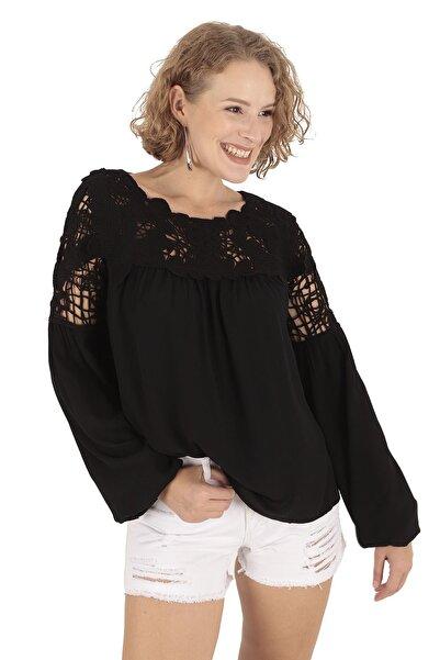 Modagusto Dantel Detaylı Siyah Bluz