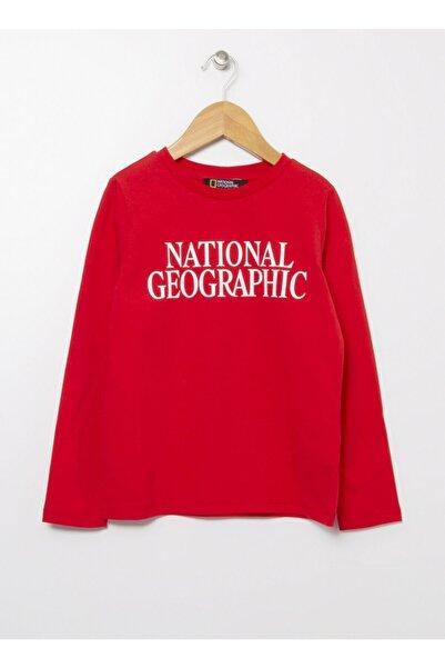 NATIONAL GEOGRAPHIC Kırmızı Bisiklet Yaka Kız Çocuk T-shirt