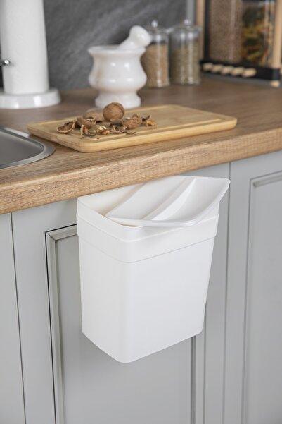 Doreline Dolap Kapağı 4 Lt Askılı Çöp Kovası Beyaz, Kapaklı Çöp Kovası