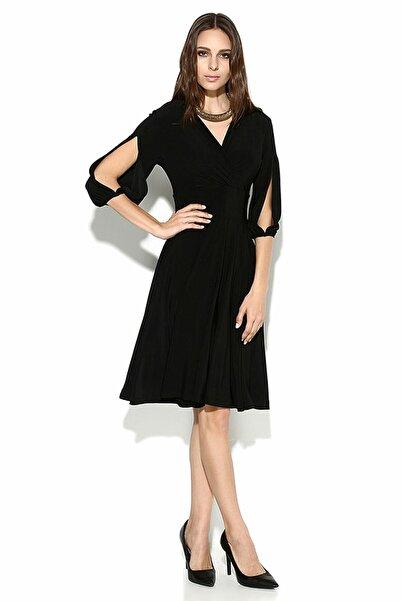 Laranor Kadın Siyah Kolda Yırtmaç Detay Elbise 15L4204