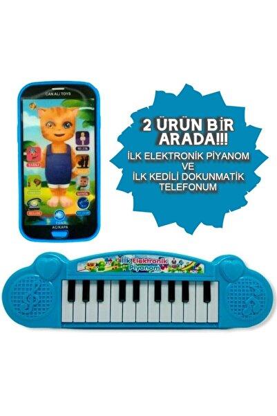 grs oyuncak Türkçe Müzikli Hayvan Sesli Dokunmatik Telefon Mavi Ve Piyano 22 Tuşlu Sesli Ilk Elektronik Piyano
