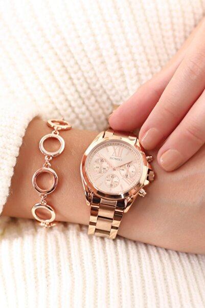 Homies Rose Renk Kadın Kol Saati (bileklik Hediyeli)