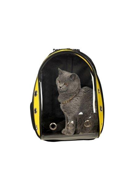 Miapet Sarı Siyah Astronot Kırılmaz Şeffaf Kedi Köpek Taşıma Çantası 42 X 22 X 33
