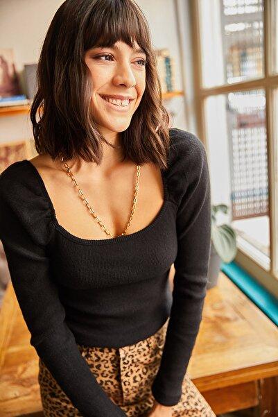 Olalook Kadın Siyah Kare Yaka Likralı Bluz BLZ-19001617