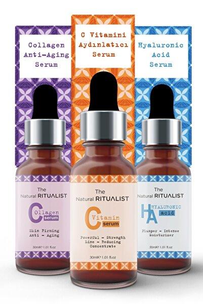 The Natural Ritualist 3'lü Cilt Bakım Serum Seti ( Hyaluronic Acid + C Vitamini + Collagen Serum )