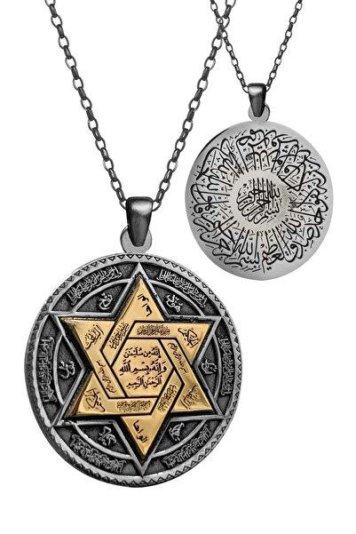 Anı Yüzük 925 Ayar Gümüş Çift Taraflı Mührü Süleyman Ayet-el Kürsi Kadın Kolye