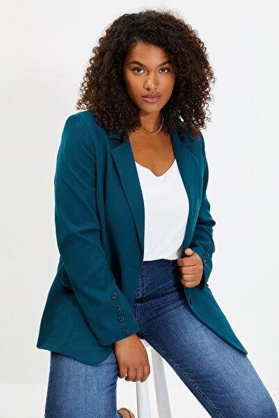 TRENDYOLMİLLA Zümrüt Yeşili Düğmeli Blazer Ceket TWOAW22CE0165