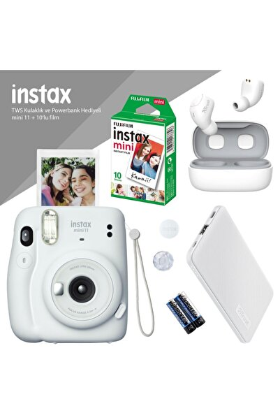 Fujifilm Instax Mini 11 Beyaz Fotoğraf Makinesi - 10'lu Film Beyaz Powerbank Ve Bluetooth Kulaklık Hediyeli