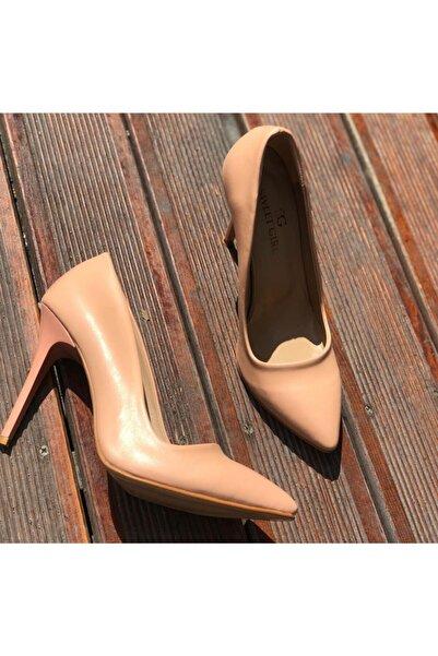 sweet girl Kadın Pudra Stiletto Ince Yüksek Topuklu Ayakkabı Sivri Burun Rahat Kalıp