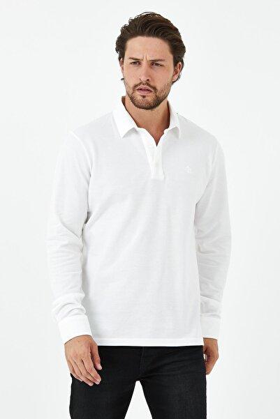 ENQUE Erkek Gömlek Yaka Uzun Kol Pike Tişört Beyaz