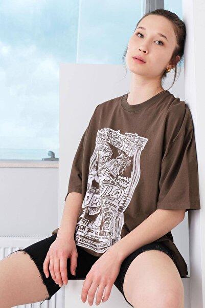 Addax Baskılı Oversize T-shirt P9577 - D11