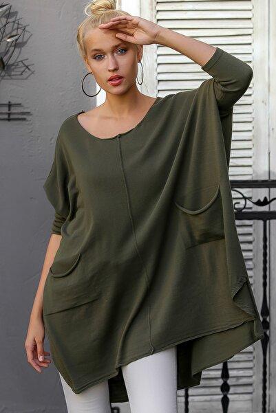 Chiccy Kadın Haki Bohem Dikiş Detaylı Dev Cepli Oversize Triko Tunik Kazak M10010800KZ99206