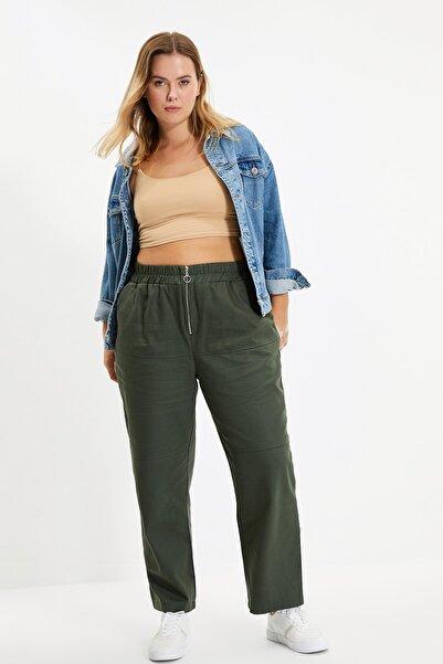 TRENDYOLMİLLA Yeşil Fermuar Detaylı Pantolon TWOAW22PL0156