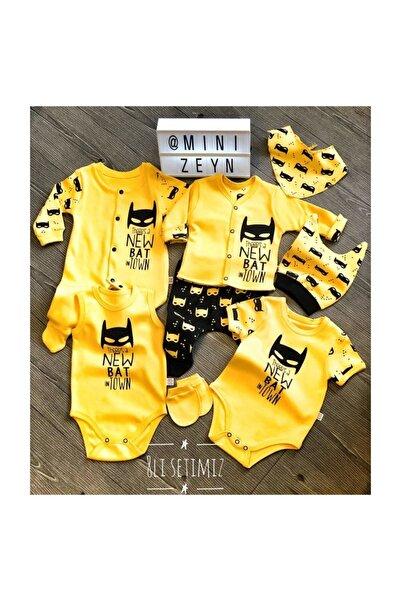 mini zeyn Erkek Bebek Sarı  Batman 8 Parça Hastane Çıkışı %100 Pamuk