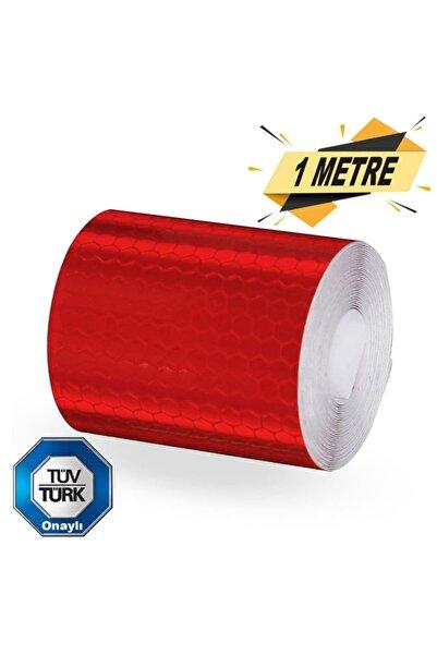 Badem10 Tüvtürk Onaylı Reflektörlü Reflektif Fosforlu Bant Kırmızı Ikaz Bandı (1 Metre)