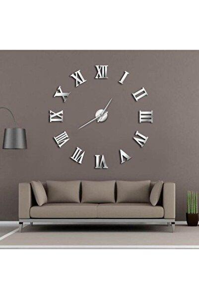 HYL Pleksi Göbek Duvar Saati Büyük 3d Romen Rakamlı Duvar Saati (gümüş)