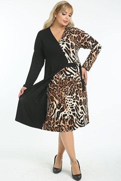 Moda Ataman Kadın Büyük Beden Kahverengi Leopar Garnili Elbise