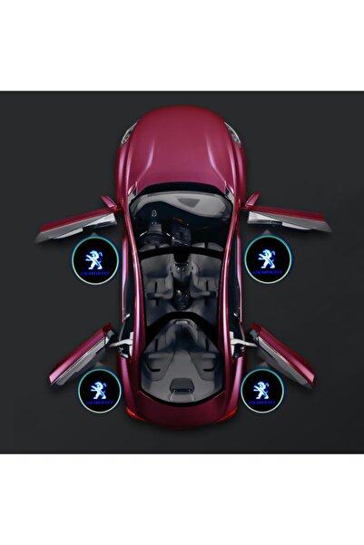 Waxen Peugeot Kapı Altı Pilli Led Logo Hd Lens Karanlık Ve Mesafe Sensörlü Led Işıklı Lamba