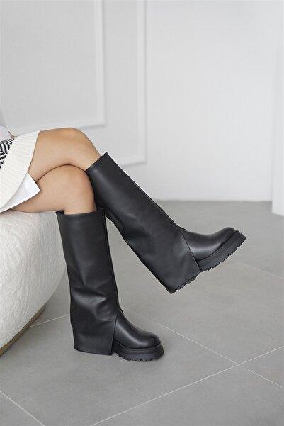 STRASWANS Kadın Deri Çizme Siyah