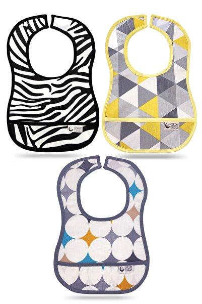 Puffy Moon Bebek Mama Önlüğü 3'lü Paket - Su Geçirmez 6-24 Ay - Leke Tutmaz Oeko-tex Sertifikalı - Bebek Önlük
