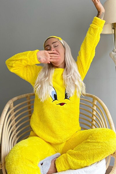 Pijamaevi Sarı Kuş Desenli Tam Peluş Pijama Takımı