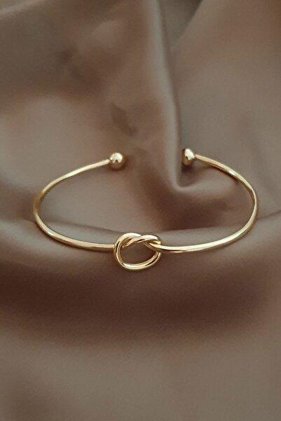 Defne Aksesuar Kadın Altın Kaplama Düğüm Kelepçe Bileklik