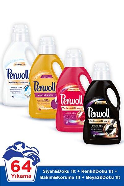 Perwoll Hassas Sıvı Çamaşır Deterjanı Siyah Renkli Bakım Onarım Beyaz 16 Yıkama 1l 4'lü Set