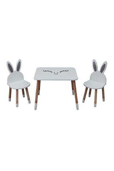 Picaline Beyaz Aktivite Masa 2 Tavşan Sandalye