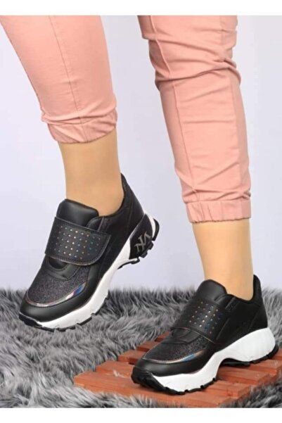 Bahar Kadın Siyah Topuklu Spor Ayakkabı