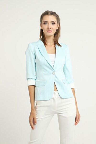 MANGOSTEEN Kadın Bebe Mavi Çizgili Blazer Ceket