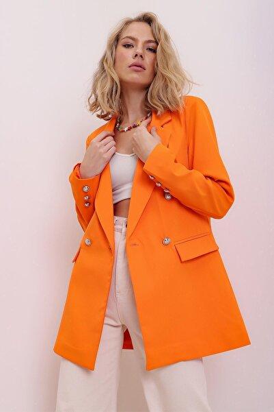 PinkPark Kadın Turuncu Kruvaze Içi Astarlı Blazer Ceket Cf00001