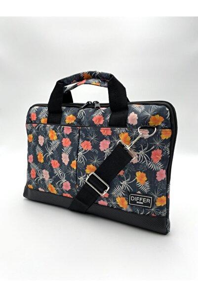 Differ Studio 15.6'' Inç Kot Görünümlü Çiçek Desen Laptop/macbook/notebook/bilgisayar/evrak Çantası