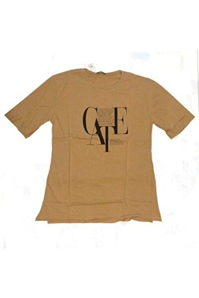 Uçar Pelit Baskılı Kadın T-shirt O Yaka Ten Rengi