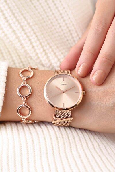 Homies Rose Renk Kadın Kol Saati + Bileklik