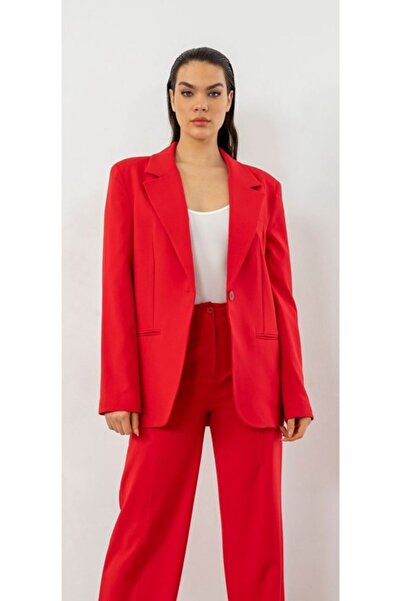 The Ness Collection Oversized Retro Boyfriend Kırmızı Blazer Ceket