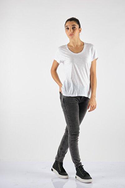 American Vintage Yuvarlak Yaka Kısa Kol Beyaz Penye T-ShirtJac48h21