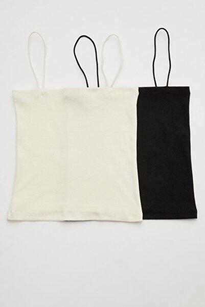 adL 2 ' Li  Set İp Askılı Crop Straplez Bluz