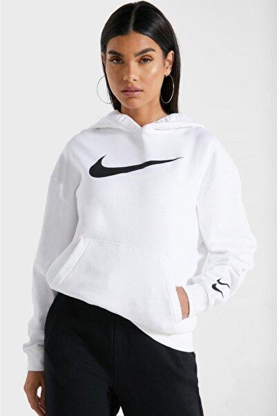 Nike Sportswear Loose Fit Fleece White Bol Kesim Beyaz Swoosh Sweatshirt