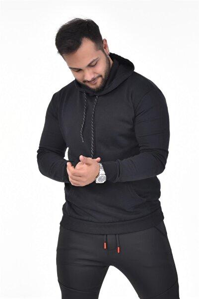 VİP LOKAL Erkek Siyah Kapüşonlu Sweatshirt